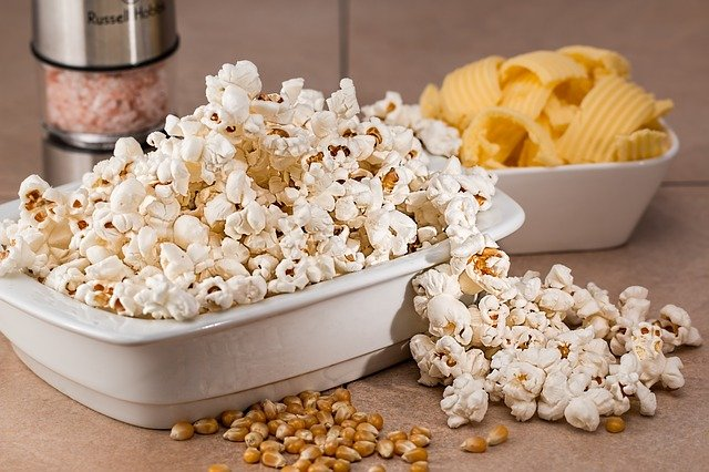 Popcorn in a bowl on a table